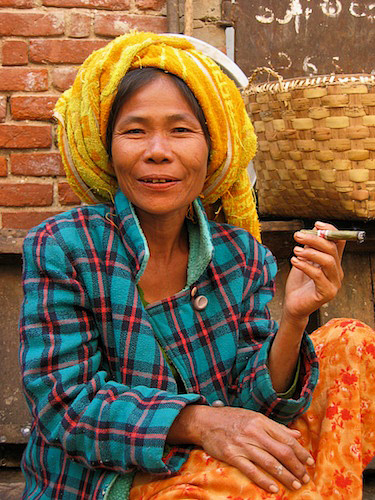Market lady selling chickens in Burma