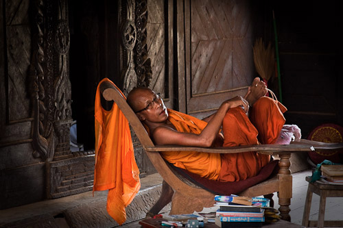 Monk in old monastery Burma