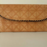 Embossed Beige Leather Purse with Brown piping by Abas Koanda
