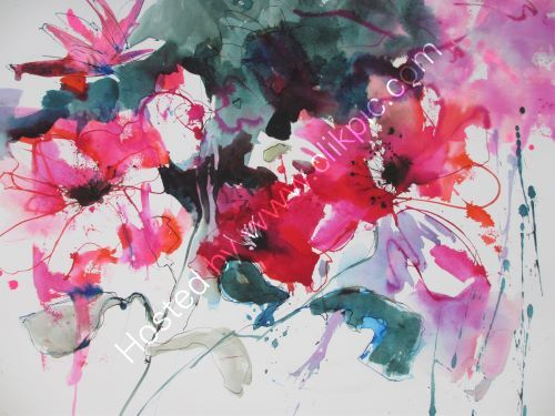 Red Hot Pink 75cm x 55cm unframed watercolour inks. Not light fast so needs UV glass hence only £175 inc p&p UK only