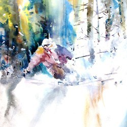 """Off Piste greeting card 5""""x5"""""""