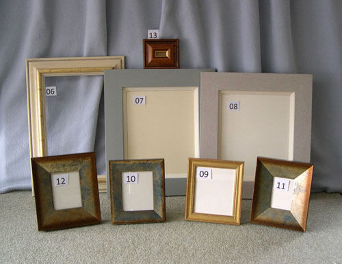THREE PAINTED FRAMES, FOUR PHOTO FRAMES, ONE SMALL-SIGN FRAME
