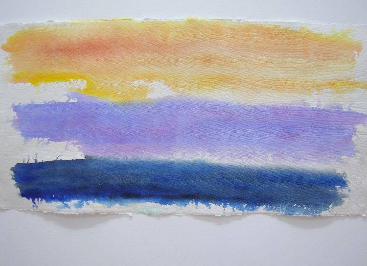 Antarctica: Sunset (Copper and Mauve), 2013, watercolour on khadi paper, 70cm x 35cm