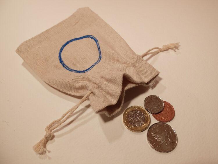 Circles (cerulean) pouch
