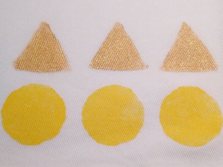 Circles Triangles (gold), available in tea towels and bags