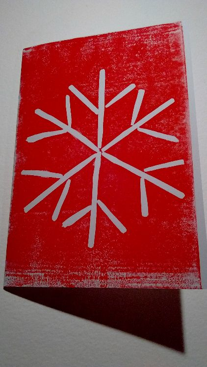 Snowflake (red), white card 240 gsm
