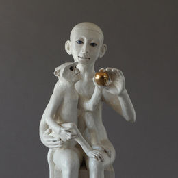 sitting monkey & child 45cm h