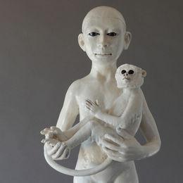 standing monkey & child. stoneware. glass eyes. 58cm h