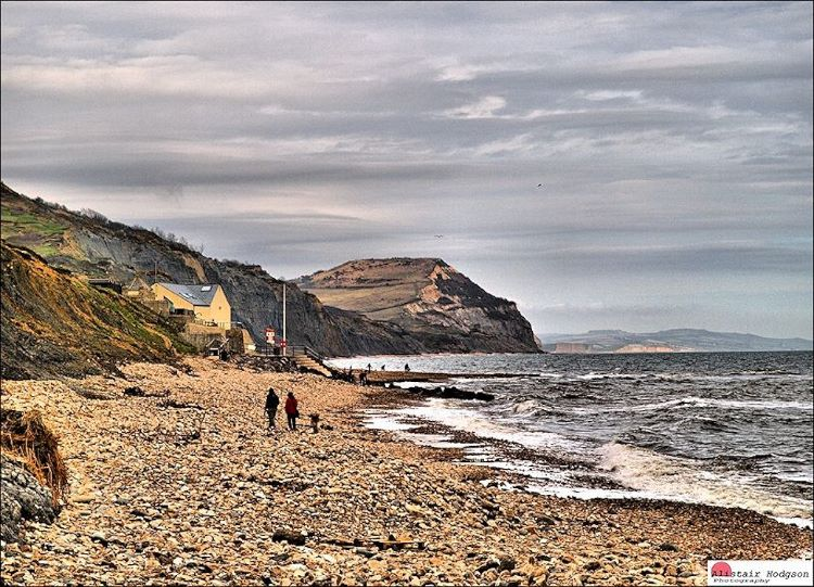 Walking off lunch on-Charmouth  beach