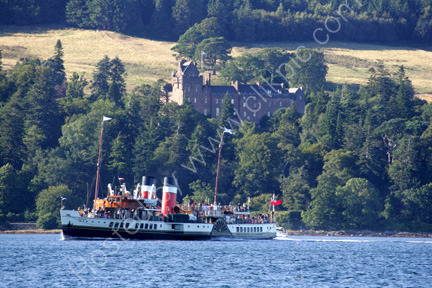 The Paddle Steamer Waverley passes Brodick Caslte Arran