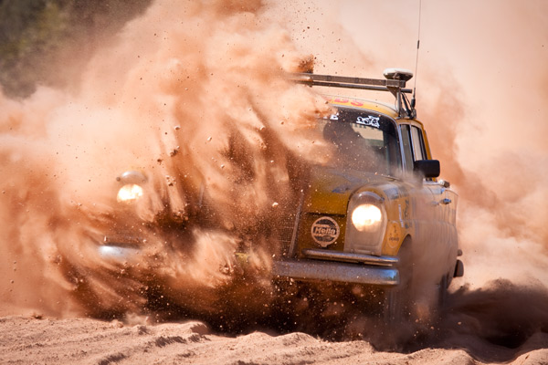 Car No. 8 Hits the Bull Dust