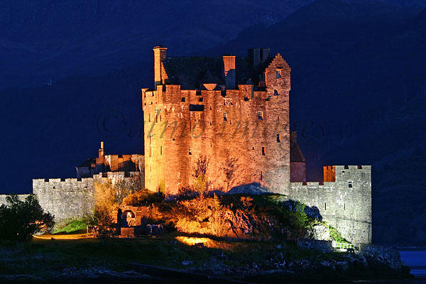 Floodlit Eilean Donan Castle