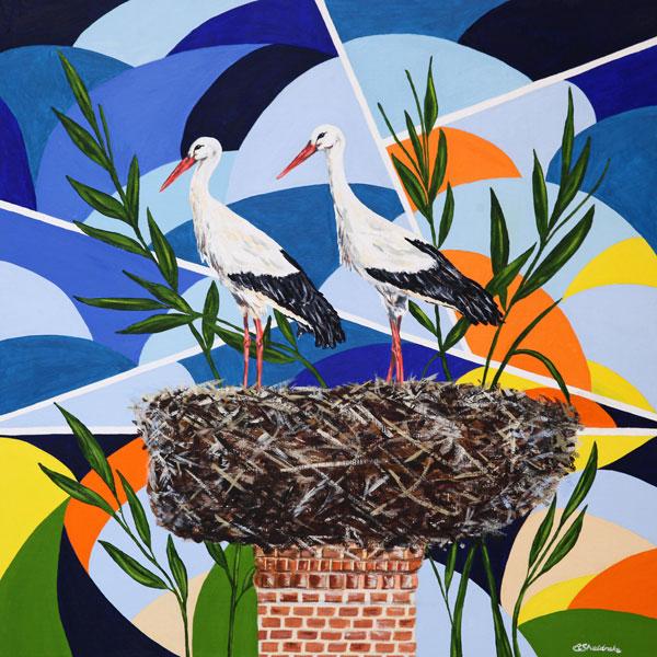 'White Storks Nesting' SOLD