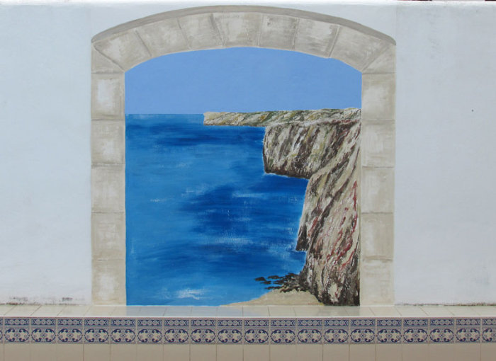 External Wall Mural close-up of third archway