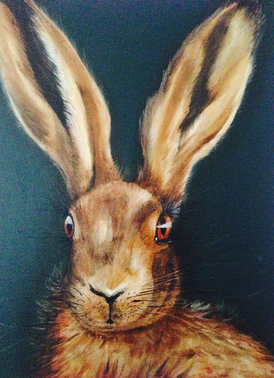 Hare on green SOLD