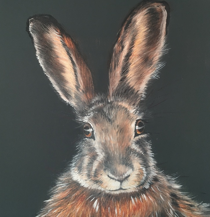 Hare on grey SOLD