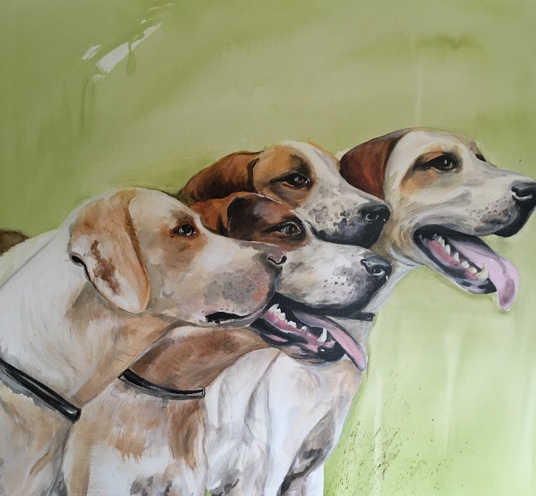 Hounds on green SOLD