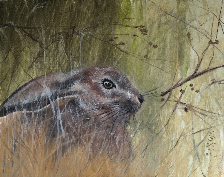 Hare in the long grass SOLD