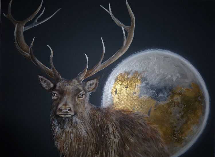 Moonlit stag SOLD