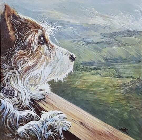 Terrier Dog Portrait in Acrylic by Amanda Roussos
