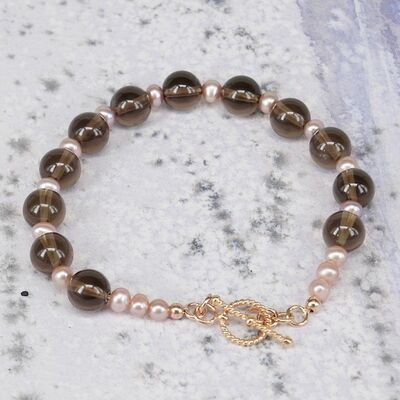 Smokey Quartz and Pearls with Gold Filled Toggle £35