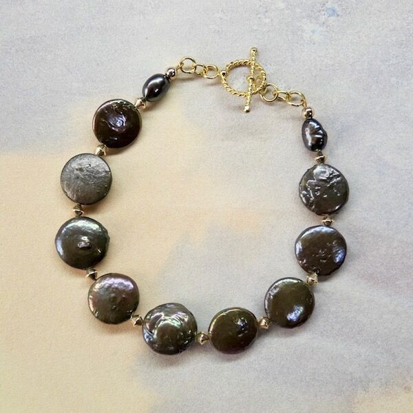 Pearl Discs with Gold Vermeil Toggle £38