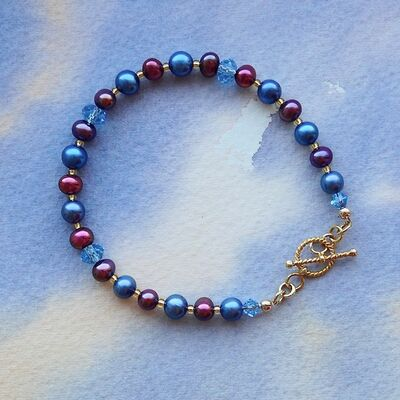 Pearls & Swarovski Crystal with Gold Vermeil Toggle £37