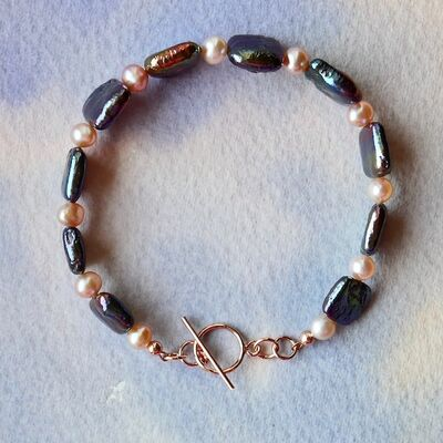 Square & Round Pearls with Rose Gold Filled Toggle £42