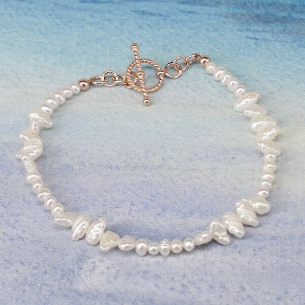 BIWA and Small Pearls with Rose Gold Vermeil Toggle £35