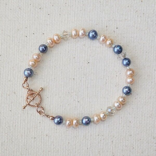 Pearls & Swarovski Crystal with Rose Gold Vermeil Toggle £30