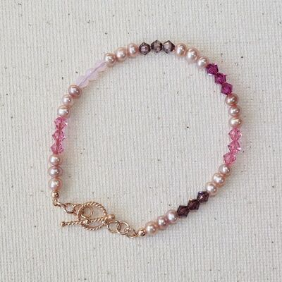 Small Pearls & Swarovski Crystal with Rose Gold Vermeil Toggle £30