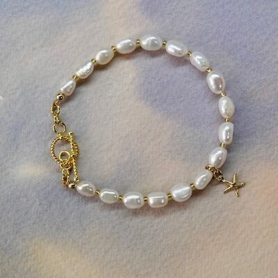 White Pearl Nuggets with Gold Vermeil Toggle & Charm £36