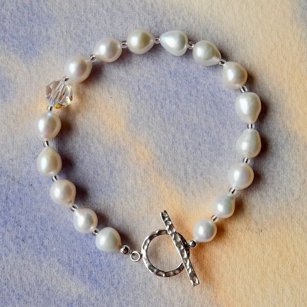 Large Pearls with Swarovski Bead and Sterling Silver Toggle £39