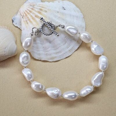Large Pearl Nuggets with Sterling Silver Toggle £35
