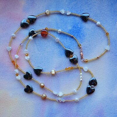 Long Necklace with Pearls Haematite Glass & Rose Gold Filled Clasp £30