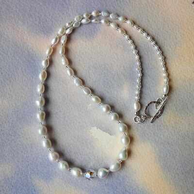 Mixed Pearls and Swarovski Bead with Sterling Silver Toggle £45