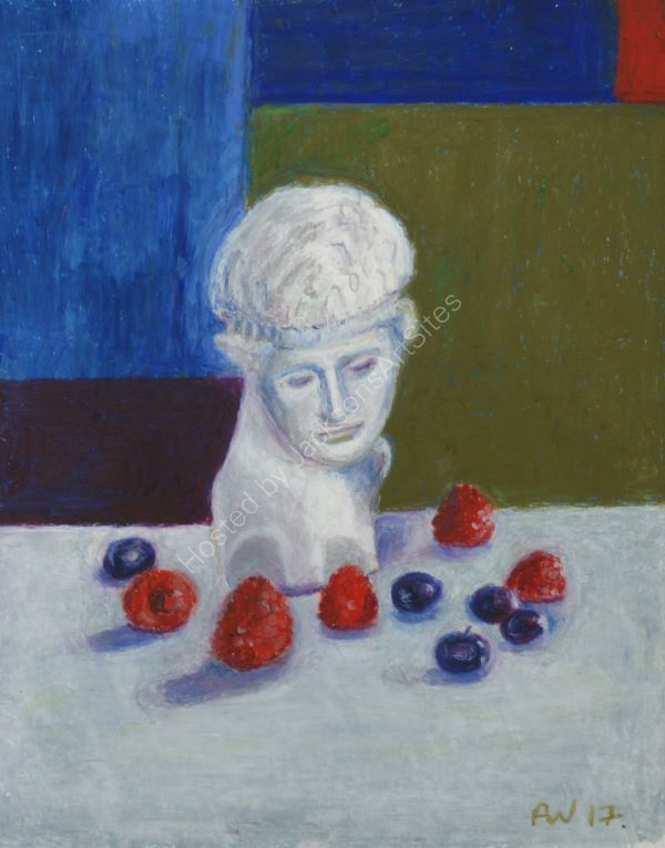 Plaster Head with Blueberries and Raspberries