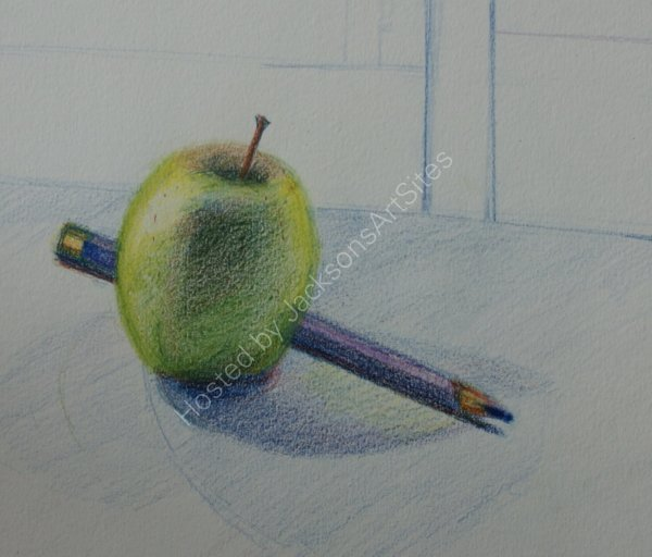 Green Apple and Purple Pencil