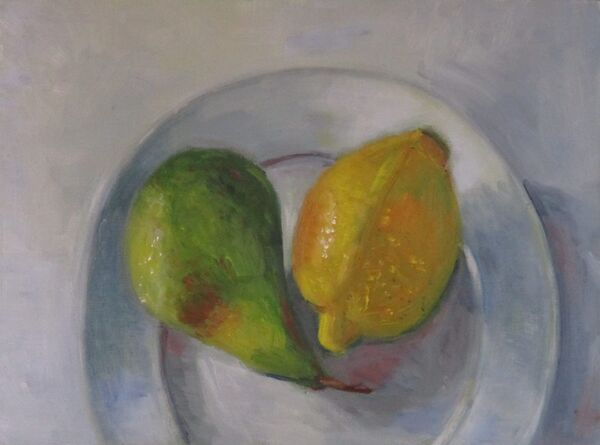 Pear and Lemon on a side plate ©