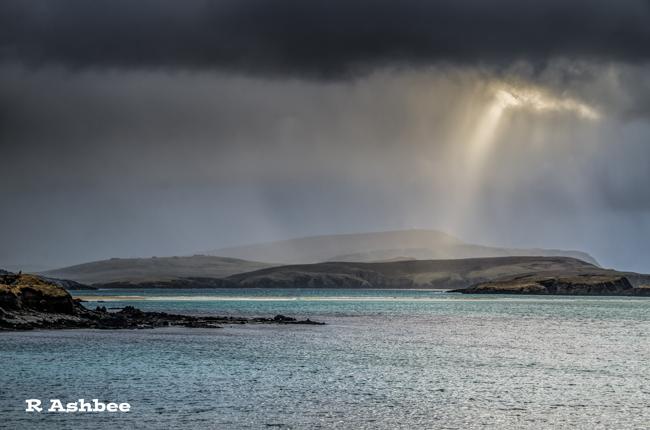 Sun spill at St Ninian's isle