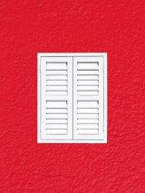 3rd White shutter on red wall - David Jones