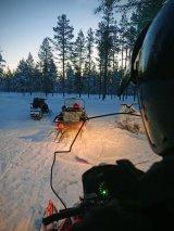 Com Snowmobiles at sunset - Debbie Birt