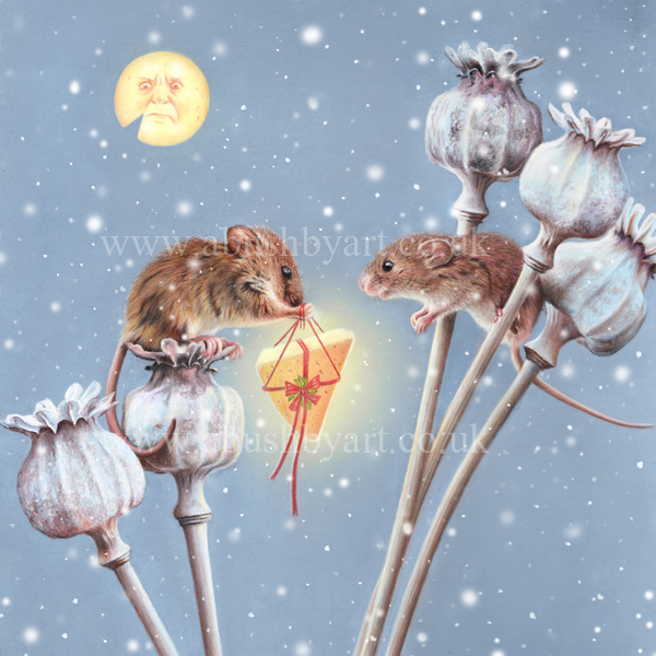 harvest mice greeting card