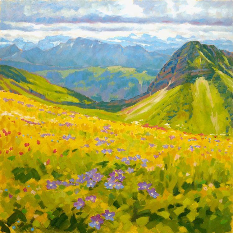 Alpine Meadow, 100x100cm, oil on canvas, £1750