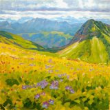 Alpine Meadow, 100x100cm, oil on canvas, £1750