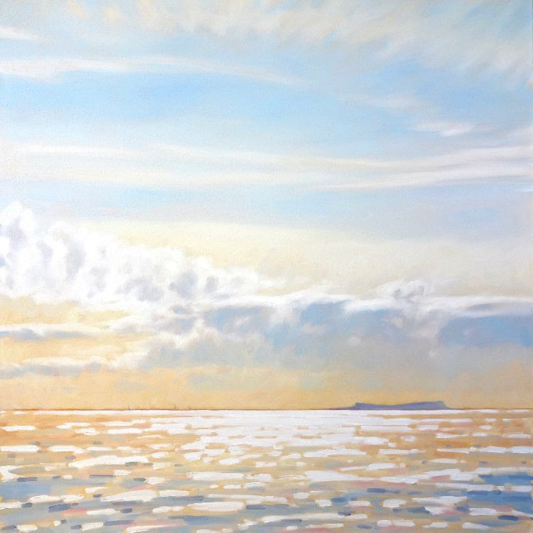 Approaching Eigg, 100x100cm, oil on canvas, £1750