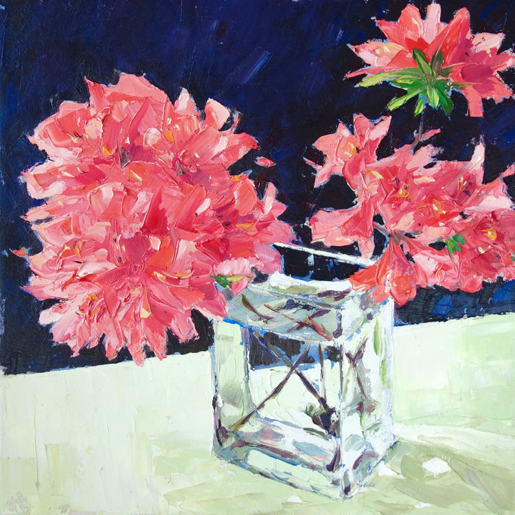 Azaleas, 40x40cm, oil on canvas, £675