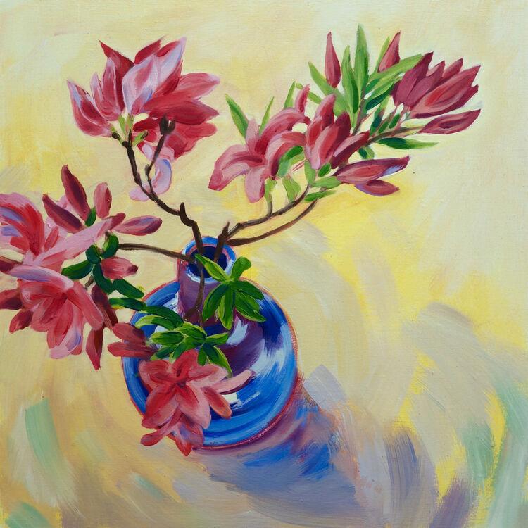 Azaleas in a Blue Vase, 40x40cm, oil on canvas, (unframed, and on deep edged canvas) £620