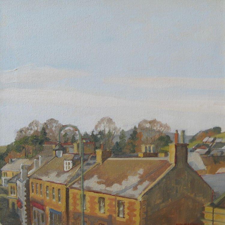 Biggar Rooftops, 30x30cm, oil on canvas, £340