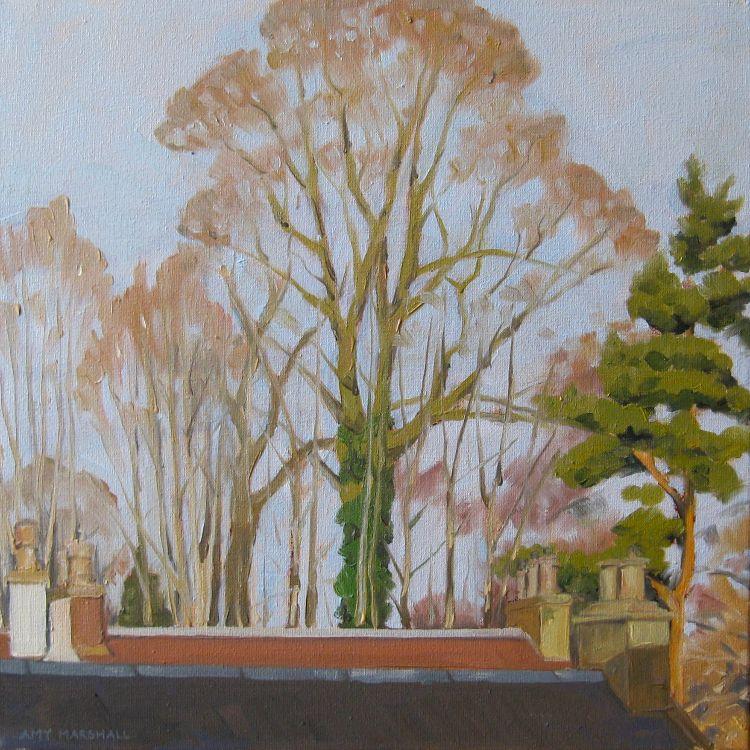 Biggar Treetops, 30x30cm, oil on canvas, £340